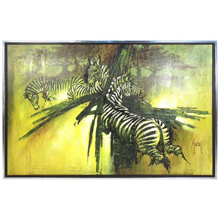 """Large """"Zebra"""" Oil Painting on Canvas For Sale"""