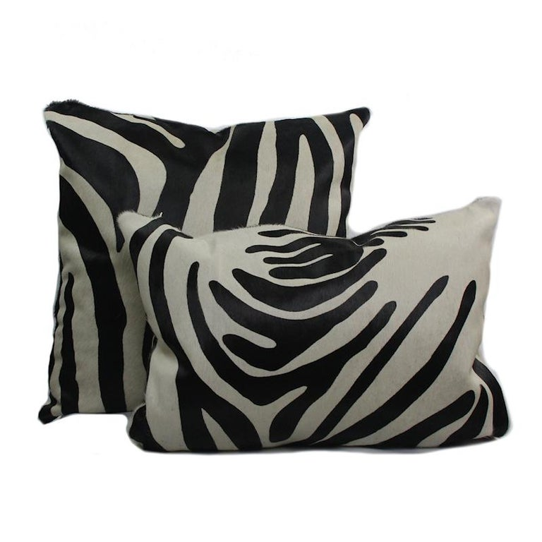 Hand-Crafted Large Zebra Print Pillow Cushion Cover For Sale
