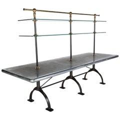 Large Zinc-Top Display Table, Cast Iron Base, Adjustable Glass Shelves