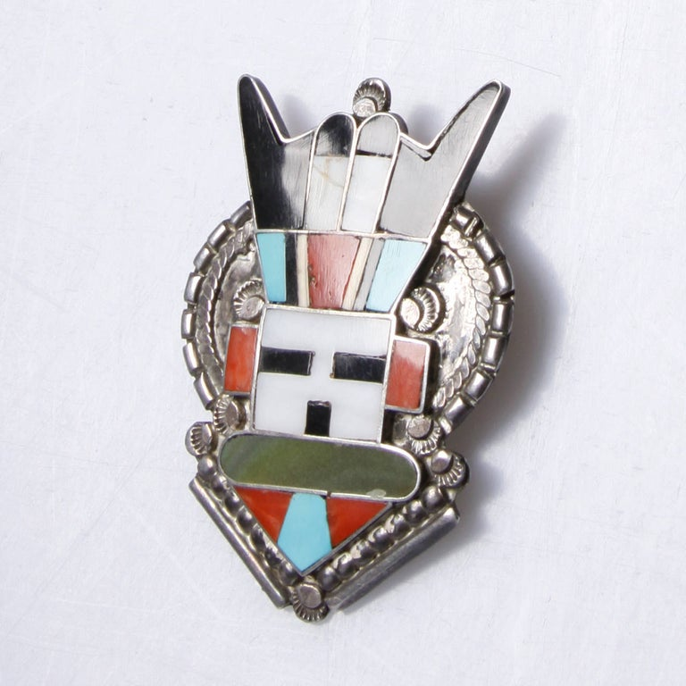 Large Zuni Vintage Native American Sterling Silver Inlay Stone Pendant or Brooch In Excellent Condition For Sale In Sparks, NV