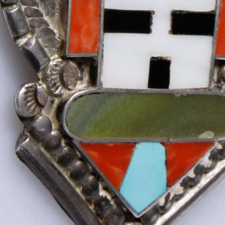 Women's Large Zuni Vintage Native American Sterling Silver Inlay Stone Pendant or Brooch For Sale
