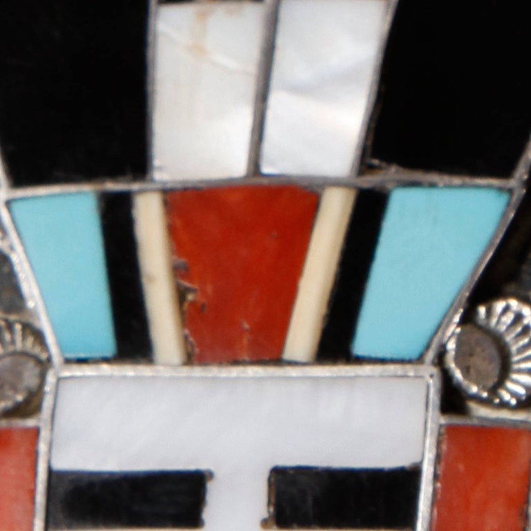 Large Zuni Vintage Native American Sterling Silver Inlay Stone Pendant or Brooch For Sale 1