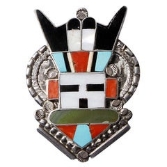Large Zuni Vintage Native American Sterling Silver Inlay Stone Pendant or Brooch