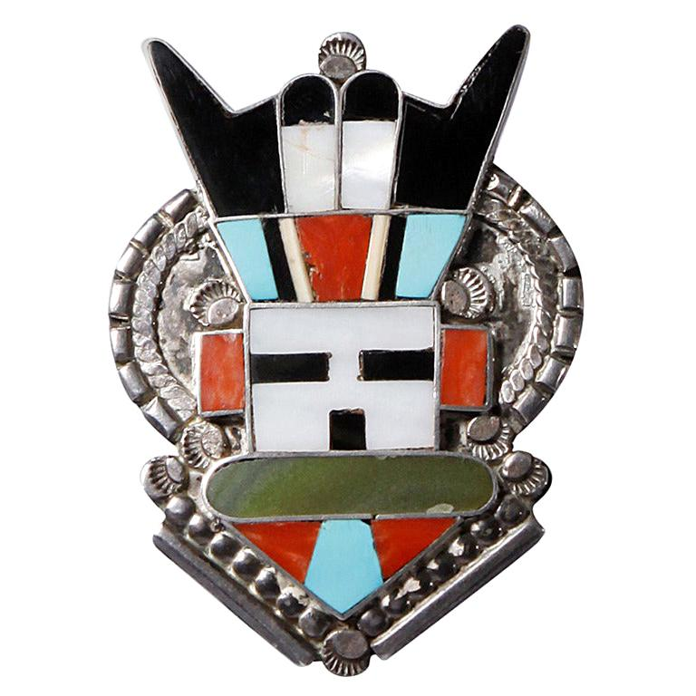 Large Zuni Vintage Native American Sterling Silver Inlay Stone Pendant or Brooch For Sale