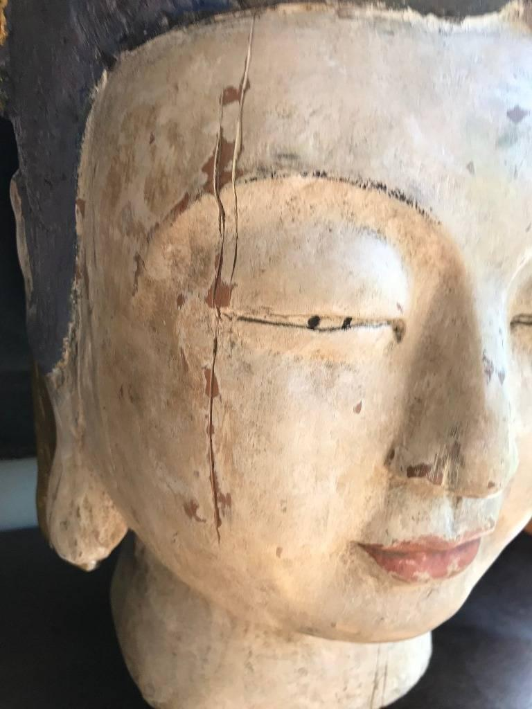 Asian Large Carved Polychrome Buddha Head Bust on Stand For Sale