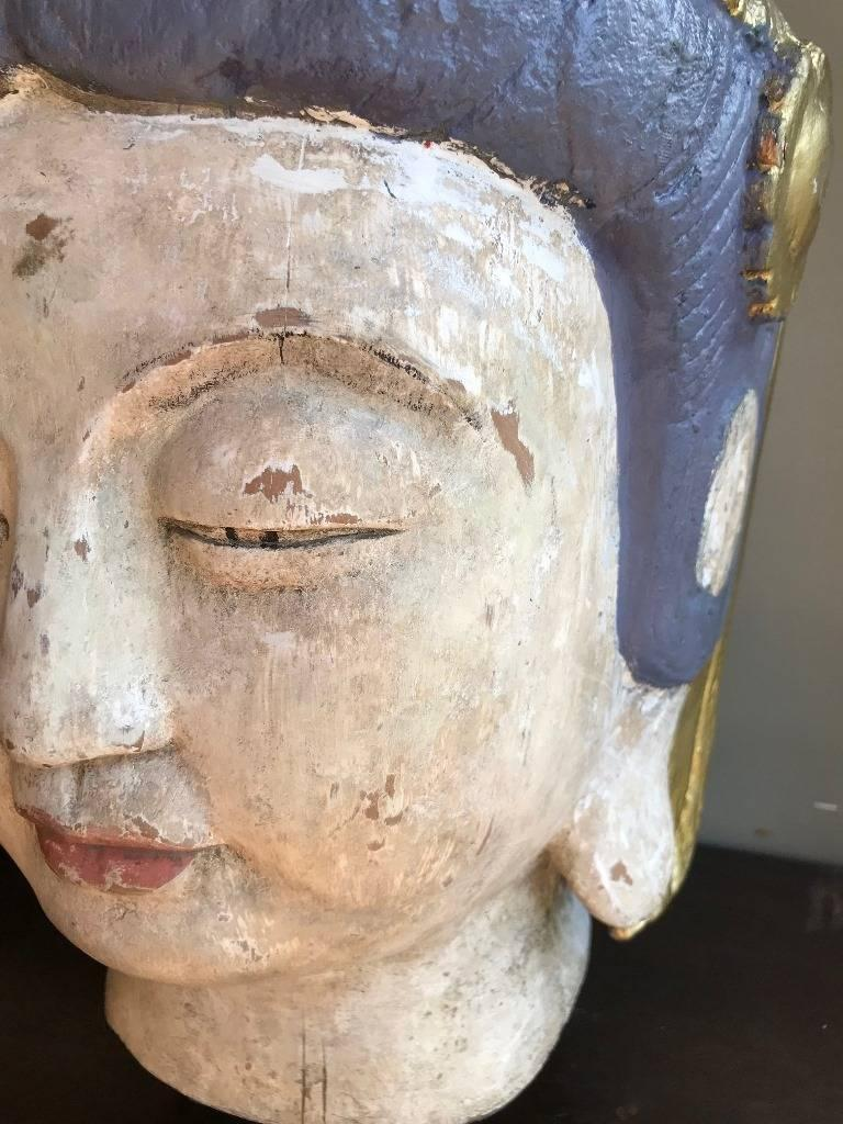 Hand-Carved Large, Carved Polychrome Buddha Head/ Bust on Stand For Sale