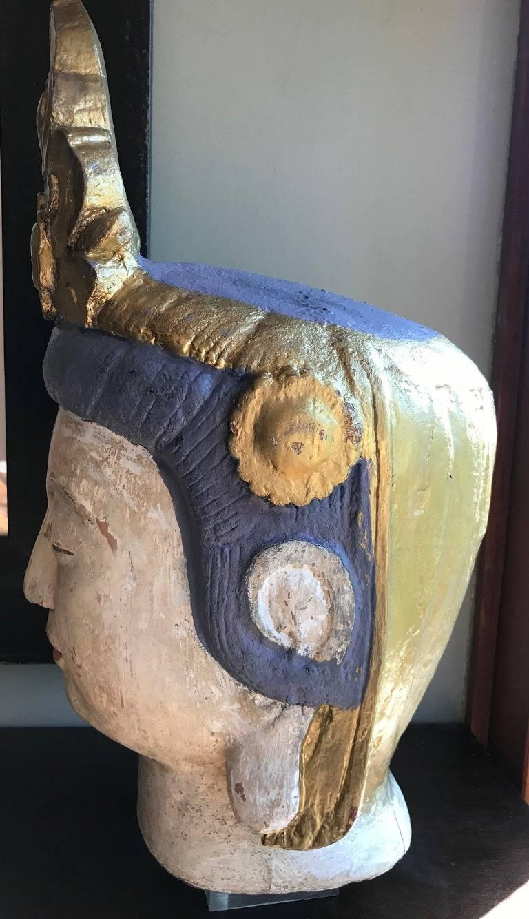 Large Carved Polychrome Buddha Head Bust on Stand For Sale 1