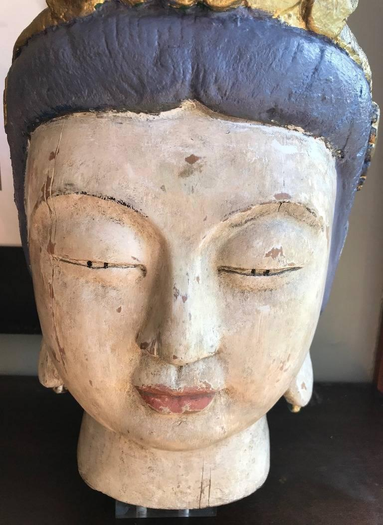 Large, Carved Polychrome Buddha Head/ Bust on Stand For Sale 2