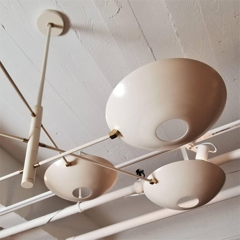 Large Counterbalance Ceiling Fixture, White Enamel + Brass by Blueprint Lighting In Excellent Condition For Sale In New York, NY
