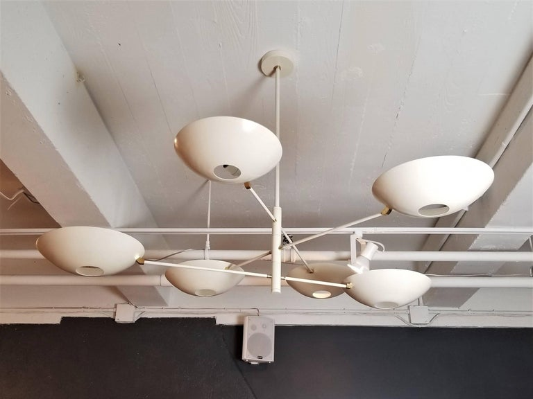 Large Counterbalance Ceiling Fixture, White Enamel + Brass by Blueprint Lighting For Sale 3