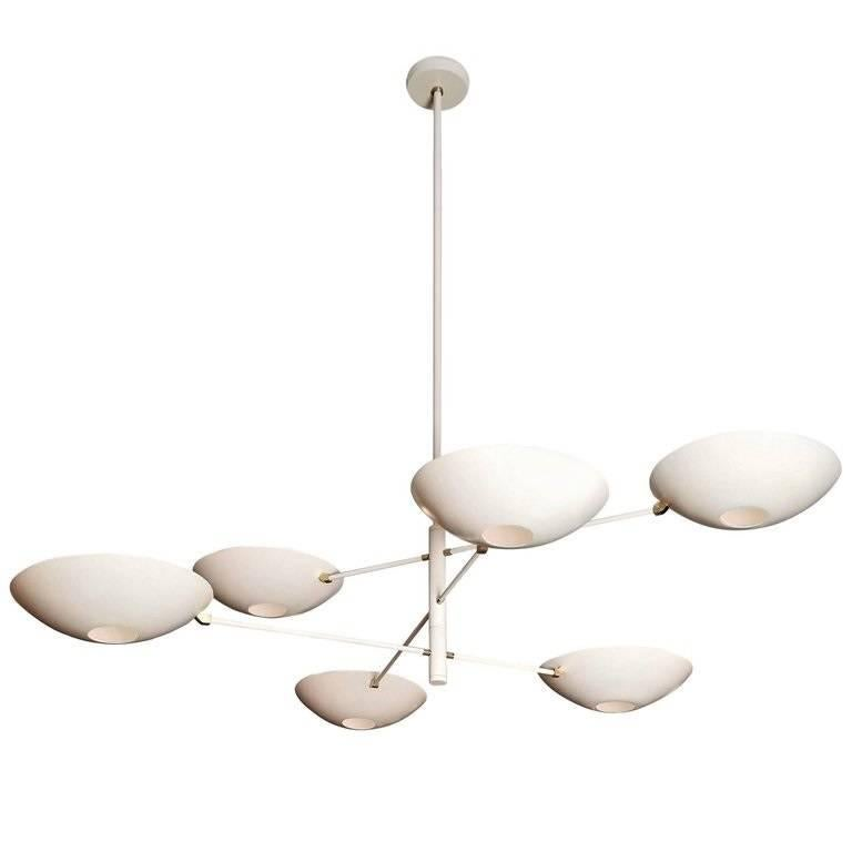 Large Counterbalance Ceiling Fixture, White Enamel + Brass by Blueprint Lighting For Sale