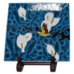 Contemporary Japanese Blue Black White Porcelain Vase by Master Artist