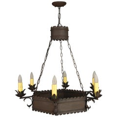 Larger Scale Spanish Revival Iron Chandelier