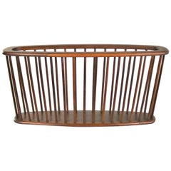 Larger Walnut Oval Magazine Rack Attribute to Arthur Umanoff for Washington Wood
