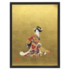 Large Red Yellow Silk Brocade Framed Handcrafted Japanese Decorative Art