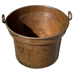 Largest Antique & Handcrafted Copper and Forged Iron Firewood Bucket or Planter