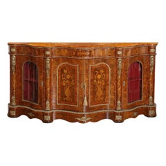 Largest Antique Walnut Marquetry Credenza