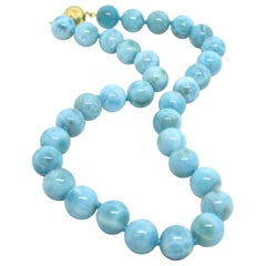 Larimar and 9 Karat Gold Necklace