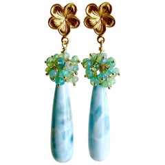 Larimar with Aqua Opal Clusters Earrings, Lumière de la Mer
