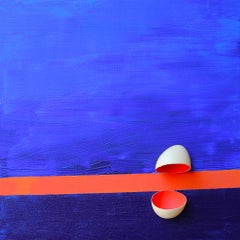 'Sunset' Abstract, Conceptual Egg Shell Painting