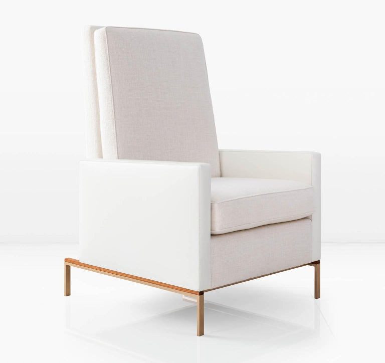 American Larkin Armchair, White Linen Weave & Leather, Silicon Bronze, Teak Base COM/COL For Sale