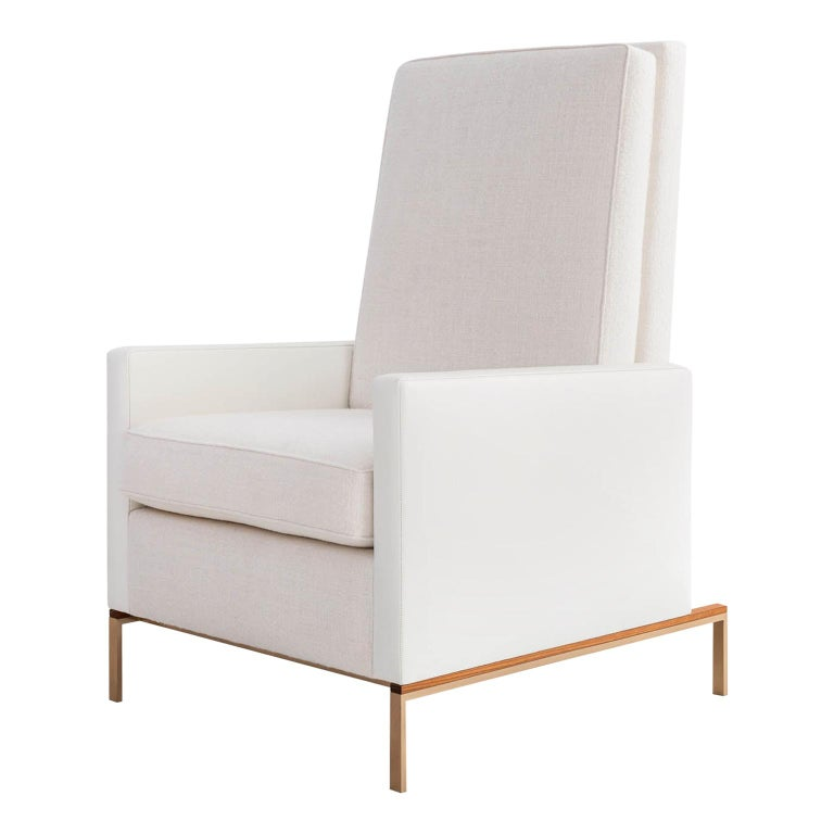 Larkin Armchair, White Linen Weave & Leather, Silicon Bronze, Teak Base COM/COL For Sale