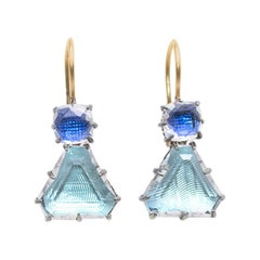 Larkspur Hawk Caterina Geometric One-Drop Earrings 14 Carat Gold