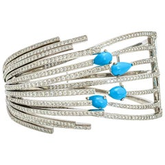 Larry 5.00 Carat 18 Karat Gold Diamond Turquoise Hinged Bangle Bracelet