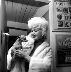 Jayne Mansfield Smiling with Dog Fine Art Print