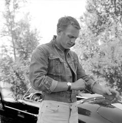 Steve McQueen Standing by His Prosche Fine Art Print