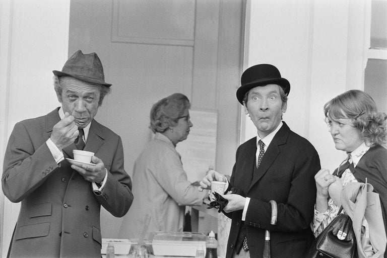 Larry Ellis Black and White Photograph - ' Carry On Tea Break ' Giant Oversize Limited Edition Silver Gelatin Print