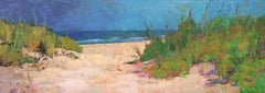 """Almost There"" Oil painting of a path to the beach through dunes, blue sky"