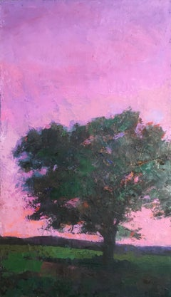 """""""Aurora Pink"""" oil painting of a tree on a hillside against a pink sunset"""