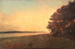 ''Bend in the Trail Sepia'' oil painting of a yellow sunset landscape with tree
