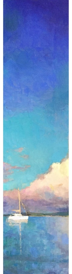 """Catamaran"" vertical oil painting of bright blue sky and clouds over sailboat"