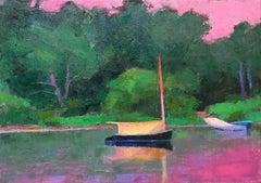 """""""Catboat, Martha's Vineyard"""" oil painting of a sailboat against pink sunset"""