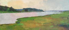 """Chappy Marsh"" oil painting of green grasses and water on Martha's Vineyard"