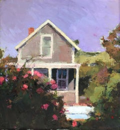 """""""Cottage and Roses"""" oil painting of a cottage with pink rose bushes"""