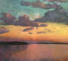 """Cumulus Sunset"" oil painting of an orange sunset over water, blue sky, clouds"
