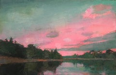 """Dusk II"" oil painting of a blue sky and pink sunset over water"