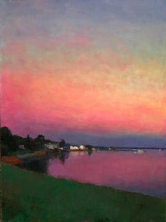 """Dusk Reflections"" oil painting of a vibrant pink sunset over water"