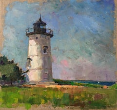 """East Chop Lighthouse"" oil painting of Martha's Vineyard white lighthouse"