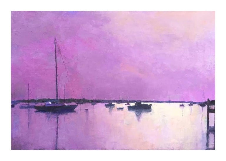"""""""Edgartown Harbor in Mauve"""" oil painting of purple sky and harbor 1"""