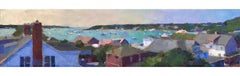 """Edgartown Rooftops"" Oil painting of a harbor view over an island village"