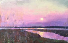 """End of Day"" oil painting of a purple sunset over reflecting water and marshes"
