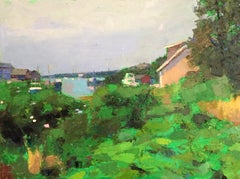 """Fishing Village"" oil painting of Menemsha with bright green foreground"