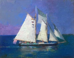 """Full Sail"" oil painting of a large sailboat with purple sky and and blue ocean"