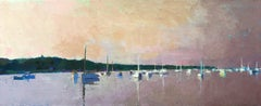 """""""Harbor Calm"""" oil painting of a harbor speckled with white sailboats in water"""