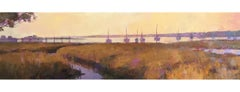 """Harbor in Amber"" Panoramic oil painting of a marsh and boats at dusk"