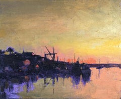 """Harbor Sunset"" oil painting of harbor with purple water and yellow sunset"